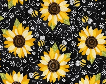 20% off thru Apr 24th Sunflowers and Bees on black  cotton print by the yard Timeless Treasures fabric C5345~flowers floral