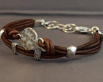Leather Bracelet-Women Bracelet-Brown Bracelet-Women Leather Bracelet-Gifts Women-Sterling Silver Bracelet-Friendship Bracelet-Gifts