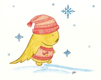 Greeting card: Romantic Kukunos in a sweater and hat. Hand-drawn illustration.