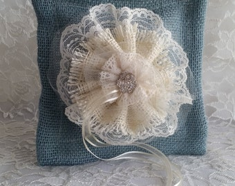 Rustic Chic Ring Bearer Pillow/ Burlap and Lace Wedding Decor/ Ringbearer Pillow