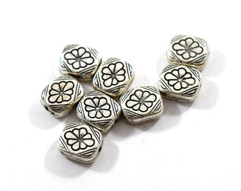 8 Antique Silver Vintage Lucite Beads, Antique Gold Beads, Rectangle Beads, Lightweight Beads