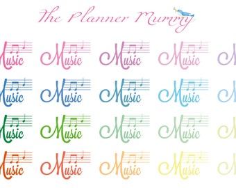 20 x Music Lesson Concert Reminder Stickers Planner Diary Calendar Class piano guitar violin