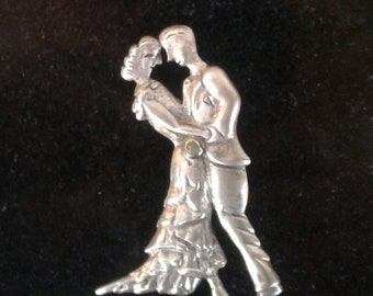 Vintage 1940s Mexican Sterling Silver Pin Brooch Tango Dancers .925 silve