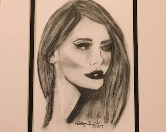 "Original Graphite Pencil/Freehand Drawing/Lana Del Rey/Musician/Original Art/5""7"" Matted to an 8""x10"""