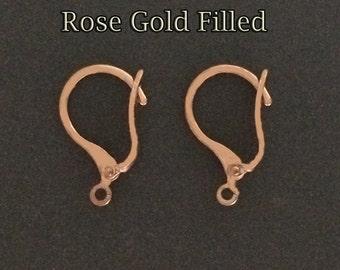 4pcs - Rose Gold filled leverback earrings - Rose gold leverback earrings and open loop - supply jewelry making leverback earrings goldfill