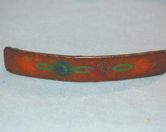 Barrette Hair Clip, Southwest Flower Scene, Ornament Leather Wood, Vintage old jewelry