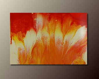 Art Print: Campfire; abstract fluid art acrylic pour painting; wall art print
