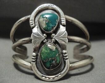 Navajo Bracelet Rare Damale Turquoise Vintage Navajo Silver Bracelet Old