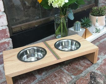 Handmade Small dog or cat bowls and stand