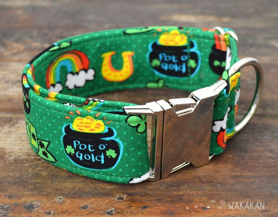 Pot of Gold  dog collar. Adjustable and handmade with 100% cotton fabric. Irish, St Patricks day Wakakan