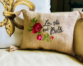 Mother's Day Gift/Hand-Stamped French Burlap Pillow/Personalized Shabby Chic Home Decor/Rose Applique Cottage Decor/Coffee Sack
