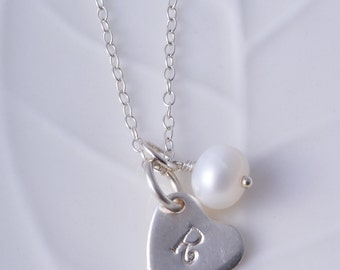 Sterling Silver personalised heart and freshwater pearl flower girl bridesmaid necklace