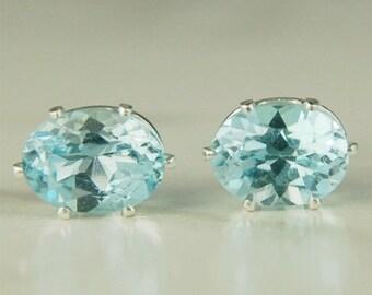 Memorial Day Sale Sky Blue Topaz Stud Earrings Sterling Silver 8x6mm Oval 2.95ctw