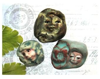 Ceramic beads, Stoneware beads, Pottery beads, Handmade beads, Focal bead, set of (3) beads -#45
