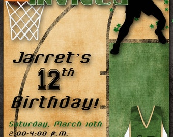 Basketball Birthday Party Invitation - Green