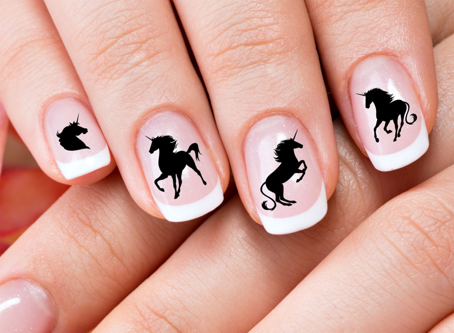 48 decals black unicorn nail art ucb water slide transfers zoom prinsesfo Image collections