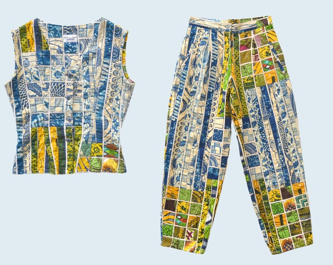 African Dutch Wax Pants and Top Set Made in Ghana size S
