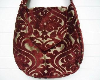 Gothic Victorian Bag Purse Deep Red Cut Velvet