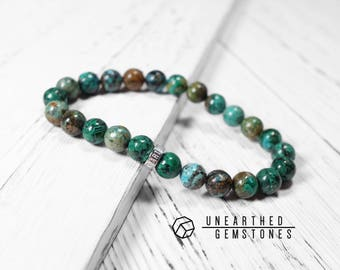 Natural Chrysocolla Bracelet - Men Bracelet, Mala Bracelet, Beaded Bracelet, Yoga Bracelet, For Him, Turquoise Bracelet