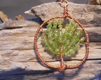 Peridot, tree of life, copper