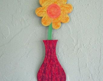 Metal Wall Art Flower Recycled Metal Mini Flower Vase Coral Rose Yellow Metal Art Sculpture Wall Hanging Colorful Flowers 3 x 9