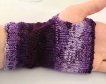 Hand-Knit Eyelet Heart Mitts