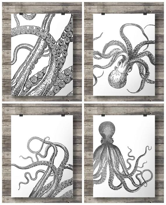 Octopus prints black white tentacles kraken nautical art