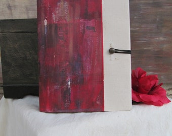 Red & White hand-painted notebook binder