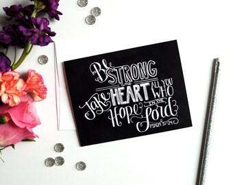 Psalm 31 Courage Card Encouragement Card Bible Verse Art Scripture Chalkboard Card Chalkboard Art Blackboard Note Card Unique Card Chalk Art