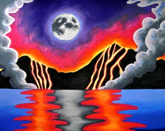 Lava Flowing into the Ocean Print (Peaceful Hawaii Magma Pastel Seascape Drawing in Red, Orange, Yellow, Blue and Violet Hawaiian Islands)