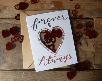 Forever and Always Confetti Hearts Card // Heart Shaped Window // Handmade Valentine's Day card // Anniversary Card