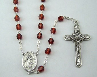 Assumption of Mary Rosary with Czech Glass Beads (02)