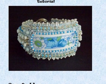 Tutorial ,Pattern,  Bead embroidery ,Beading pattern , Instructions only, Chinese porcelain bracelet, Beading tutorial