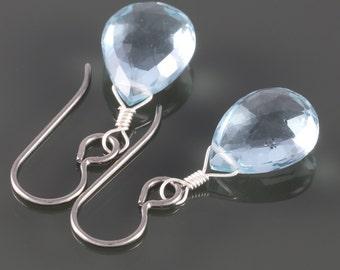 Aqua Blue Quartz Earrings with Titanium Ear Wires f16e125