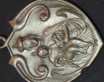 Vintage Art Nouveau Our Lady of Rosary Silver Pendant Medal
