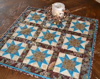 Quilted Table Runner, Brown Blue Southwest Decor, Western Star Table Centerpiece, Country Home Decor