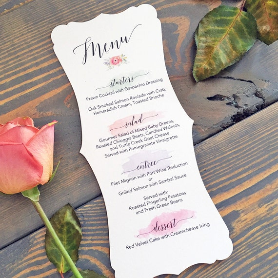 25 pack of Fancy Cut Wedding Menu on White Shimmer Card Stock with Watercolor Brush Strokes - Custom Colors Available