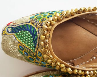 Indian Shoes with Hand-Embroidered Peacock Design, Dazzling Rhinestones, and Bells - Punjabi Jutti, Footwear, Gold Flats, Pattern Flat Shoes