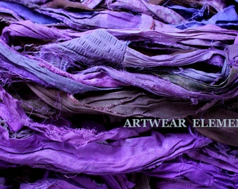 Purple Mix #4, Fair Trade, 5 Yards, Purple Mix Sari Silk, Textile, Yarn, Art Yarn, Ribbon, Silk Fabric, Purple Silk, Artwear Elements