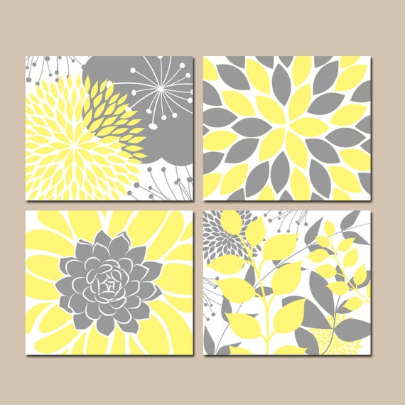 yellow gray wall art canvas or prints floral bedroom. Black Bedroom Furniture Sets. Home Design Ideas