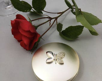 Personalised satin finished powder compact with Modern Butterfly ornament