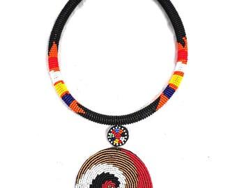 Pendant choker , black necklace , black choker ,zulu black choker, pendant necklace , maasai pendant choker , choker with a pendant