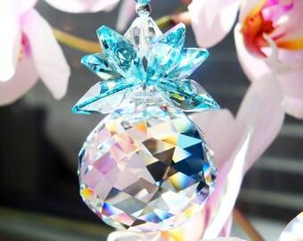 Crystal Suncatcher, Swarovski Crystal Sun Catcher, Blue Feng Shui Decor, Hanging Crystals, Prism Suncatcher