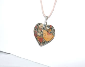 Cherry Creek Jasper and Pyrite Natural Gemstone Heart Necklace