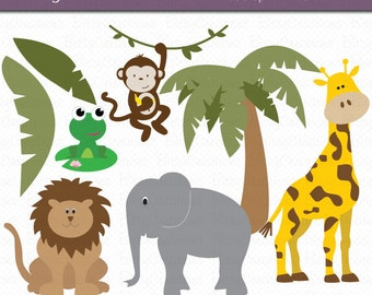 Jungle Animals Digital Art Set INSTANT DOWNLOAD Jungle Clipart Animal Clipart Wild Animal Clipart