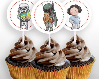 """INSTANT DOWNLOAD Star Wars Baby Shower Characters Cupcake Toppers or 2"""" Round Stickers, Star Wars Decorations, Printable, .pdf file"""