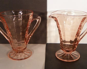 Anchor Hocking Block Optic Pink Depression Glass Creamer and Open Sugar Bowl