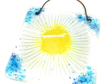 Blue & white daisy fused glass suncatcher lightcatcher art wall decoration hanging window girl mom Mothers Day gift mum present