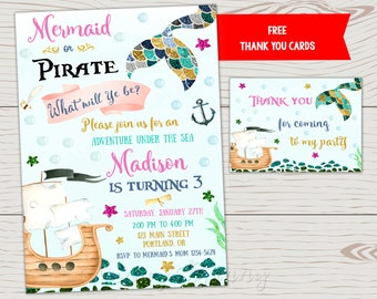 Mermaid and pirate invitation Mermaid pirate invitation Pirate and mermaid birthday invitation Pirate party Under the sea Boy girl birthday