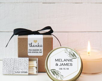 Set of 6 - 4 oz Soy Candle Wedding Favors - Minimalist Label Design - Wedding Favor Candles | Minimalist Wedding Favors | Modern Favors